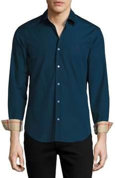 Burberry Cambridge Check-Detail Sport Shirt, Teal