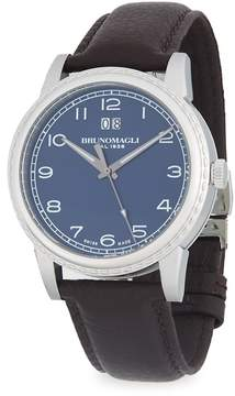 Bruno Magli Men's Textured Stainless Steel Leather-Strap Watch