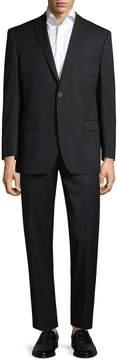 Andrew Marc Marc by Men's Striped Logo Notch Lapel Suit