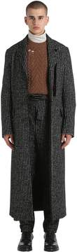 Damir Doma Extra Long Striped Wool & Alpaca Coat