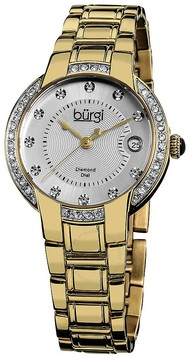 Burgi Silver Dial Gold-Tone Stainless Steel Ladies Watch