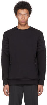 Neil Barrett Black Quilted Zip Sweatshirt