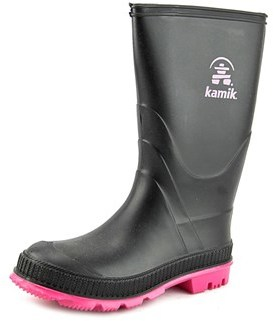 Kamik Stomp Youth Round Toe Synthetic Black Rain Boot.