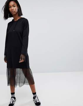 Noisy May 2 In 1 Hooded Dress With Mesh Detail