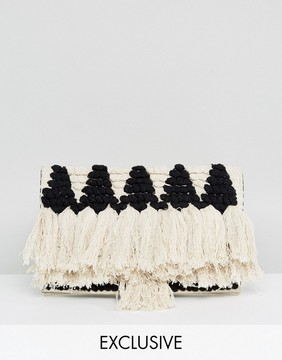 Reclaimed Vintage Inspired Straw Tassel Clutch Bag