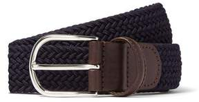 Andersons Anderson's Leather Stretch Woven Belt in Navy