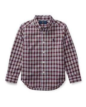 Ralph Lauren Poplin Plaid Button-Down Shirt, Red Pattern, Size 5-7