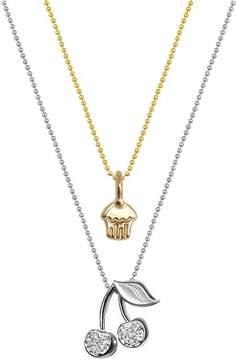 Alex Woo 14K Yellow Gold & Sterling Silver Mini Cupcake & Diamond Cherries Pendant Necklace - Set of 2 - 0.04 ctw
