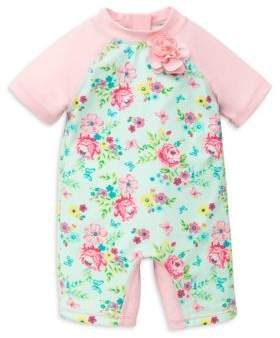 Little Me Baby Girl's Floral Rashguard One-Piece Swimsuit
