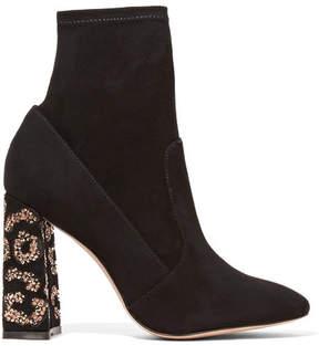 Sophia Webster Felicity Crystal-embellished Suede Ankle Boots - Black