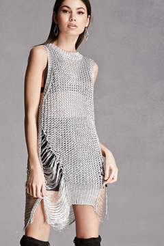 FOREVER 21 Metallic Open-Knit Top