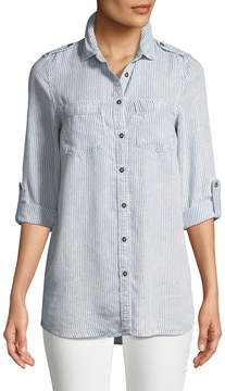 Dex Button-Front Striped Chambray Blouse
