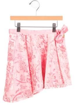 Miss Blumarine Girls' Burnout Gathered Skirt