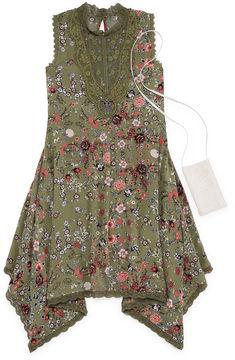 Knitworks Knit Works Olive Floral Sleeveless Skater Dress w/ Purse- Girls' 7-16