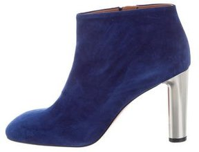 Celine Suede Square-Toe Booties w/ Tags