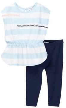 Splendid Whipstitch Stripe Top & Legging Set (Baby Girls)