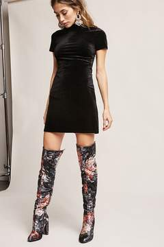 Forever 21 Yoki Floral Over-the-Knee Boots