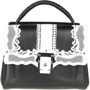 Paula Cademartori Petite Faye Bag In Black Leather With Embroidery Detail