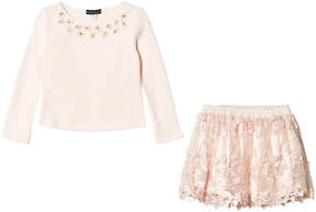 Kate Mack Biscotti Pink Jumper and Jewelled Lace Skirt Set