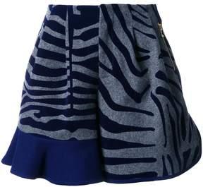 Kolor animal print ruffle shorts