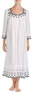 Eileen West Embroidered Cotton Caftan