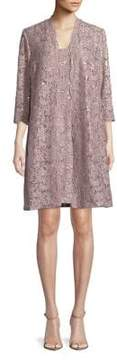 Alex Evenings Petite Two-Piece Floral Lace Jacket and Shift Dress
