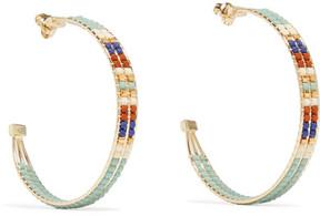 Chan Luu Gold-tone Beaded Hoop Earrings