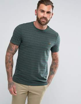 Farah Lennox Slim Fit Striped T-Shirt in Green
