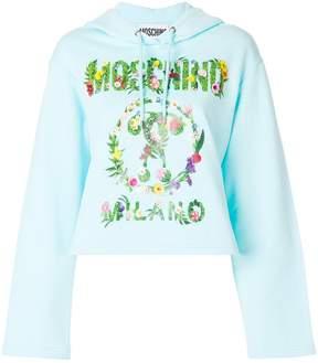 Moschino floral print logo hoodie