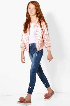 boohoo Girls Embroidered Skinny Ripped Knee Jeans
