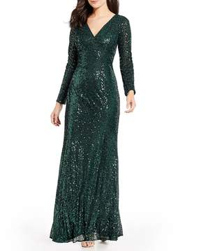 Cachet Sequin V-neck Gown