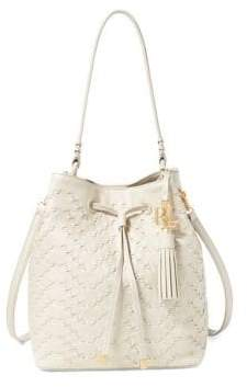 Lauren Ralph Lauren Stitched Leather Debby Drawstring Bag