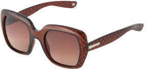 Bottega Veneta Modified Square Acetate Sunglasses, Brown