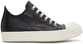 Rick Owens Black Leather Low Sneakers