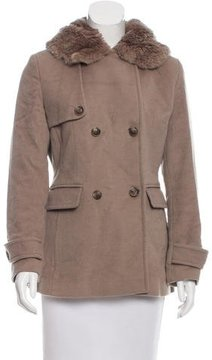 Calvin Klein Collection Wool Faux Fur-Trimmed Jacket