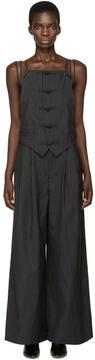 Facetasm Black Wool Pinstripe Jumpsuit