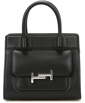 Tod's Double T Black Smooth Leather Tote