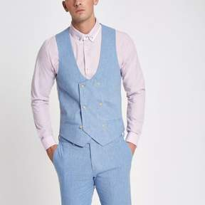 River Island Mens Light blue linen vest
