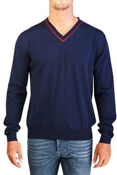 Christian Dior Men's Cotton V-neck Knit Sweater Navy.