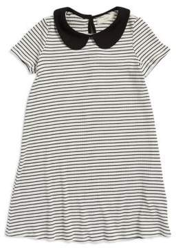 Soprano Girl's Peter Pan Collar Striped Dress