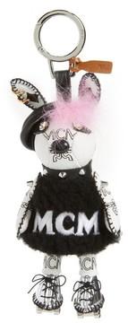 MCM Women's Roller Girl Genuine Rabbit Fur Bag Charm - White