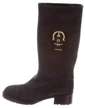 Salvatore Ferragamo Nubuck Gancini Boots