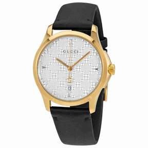 Gucci G-Timeless SIlver Dial Men's Leather Watch YA1264027