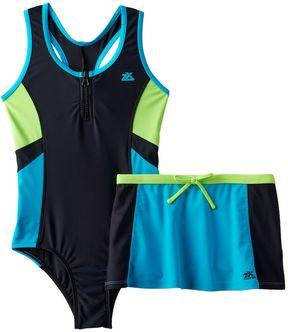 ZeroXposur Girls 7-16 One-Piece Racerback Swimsuit & Skirt Set