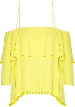 Alice + Olivia Alice Olivia - Meagan Off-the-shoulder Embellished Crepon Top - Bright yellow