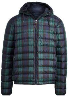 Ralph Lauren Packable Hooded Down Jacket Blackwatch Plaid L