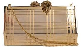 Roberto Cavalli Metallic Gold Metal Clutch Shoulder Bag