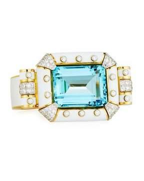 David Webb Aquamarine & White Enamel Bracelet with Diamonds in 18K Gold & Platinum