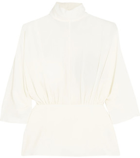 Emilia Wickstead Gee Gee Gathered Stretch-crepe Peplum Top - Off-white