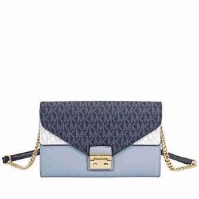 Michael Kors Sloan Large Leather Chain Wallet- Pale Blue/ Admiral - ONE COLOR - STYLE